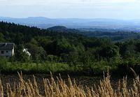 Widok niedaleko zamku- w oddali po lewej góra Cergowa- to już Beskid Niski