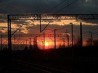Zachód słońca nad dworcem PKP Sieradz