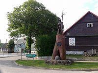 Korycin - drewniany pomnik króla Zygmunta III Wazy