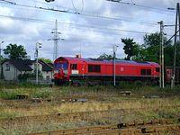 Class 66227 należąca do DB Schenker na stacji Tomaszów Maz