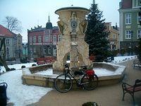 Sobotnia rowerówka. Fontanna na Starówce w Skarszewach. 16-02-2013.