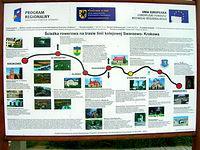 Tablica informacyjna dot. scieżki rowerowej zbudowanej na trasie linii kolejowej Krokowa - Swarzewo