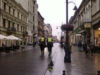 Konny patrol SM na Piotrkowskiej