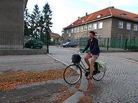 Elbląska rowerzystka na Królewieckiej