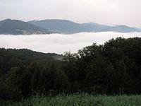 Nad mgłami nad jeziorem