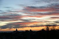 Zachód słońca nad Twardawą, w tle góry Opawskie