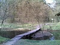 Mostek na żółtym szlaku nad Kanałem Łasica. Rzeopwa Góra. KPN