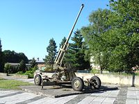 Sprzęt wojskowy - część pomnika żołnierzy Armii Czerwonej w miejscowości Osoblaha (CZ)