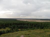 Widok na Pustynie Błędowską z punktu widokowego Czubatka w Kluczach