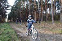 Mikołaj pędzący Lasem Gdańskim pieszym Szlakiem Brdy