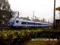 ED160-007 FLIRT za chwilę podstawi się na peron stacji w Katowicach jako IC 48110 w dość dziwnej relacji Katowice-Częstochowa-Łódź Widzew-Kalisz-Poznań-Szczecin Główny