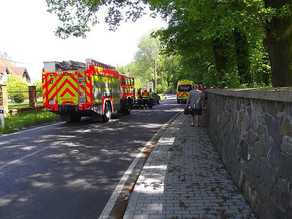 Wyjazd z Šilheřovic. Motocyklista wypadł z zakrętu